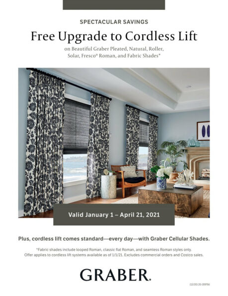 Free upgrade to cordless lift on selected Graber products